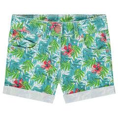 Short en coton fantaisie avec imprimé tropical all-over
