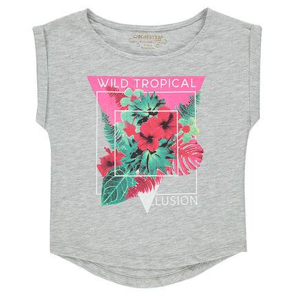 T-shirt met korte mouwen en fantasieprint uit slub jerseystof