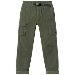 Pantalon cargo doublé jersey avec ceinture intégrée