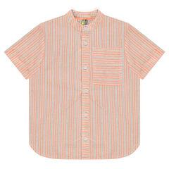 Hemd met korte mouwen, streepjes en zakje