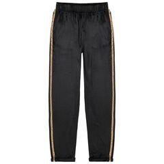 Junior - Pantalon de jogging en velours à bandes léopard