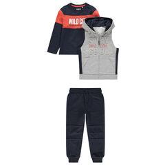 Jogging uit 3 delen met t-shirt in twee kleuren, vest met kap eneffen broek