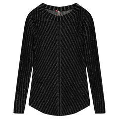 Lange trui van fantasietricot met zilveren draad