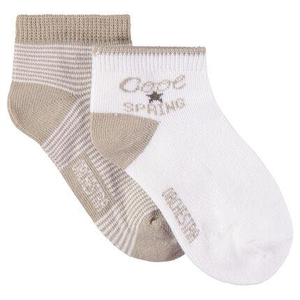 Set met 2 paar matching sokken met motieven en strepen van jacquard
