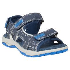 Open sandalen uit twee materialen