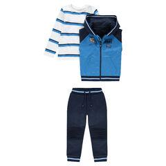 Jogging 3 pièces avec tee-shirt rayé, gilet sans manches et pantalon uni