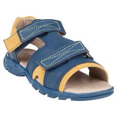 Open schoenen in leder en stof met klittenband tweekleurige