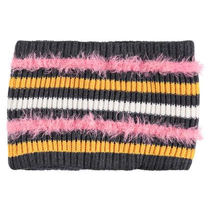 Snood van tricot met haartjes, contrasterende strepen en voering van sherpa
