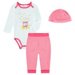 Set naissance 3 pièces body, pantalon et bonnet