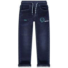 Jeans met used en crinkle effect, elastische taille en Smiley-borduurwerk