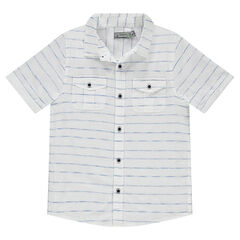 Junior - Hemd met korte mouwen, fijne streepjes en met zakken