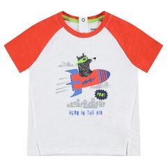 Tweekleurig T-shirt met korte mouwen van jerseystof met berenprint