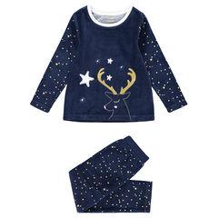 Pyjama van velours in kerststijl met print met sterren en geborduurd rendier