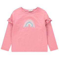 T-shirt met lange mouwen met volants met regenboog met pompons