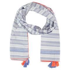 Sjaal met strepen en contrasterende pompons