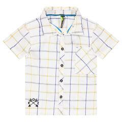 Chemise manches courtes à carreaux avec motif brodé