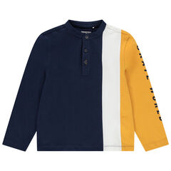 Polo manches longues en jersey à col mao et bandes contrastées