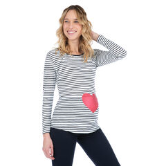 Homewear T-shirt met lange mouwen en print met hart