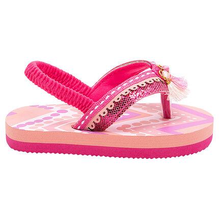 Roze teenslippers met elastische riem en pompons