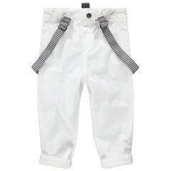Witte, feestelijke broek met afneembare en gestreepte schouderbandjes