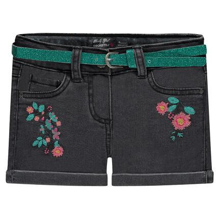 Geborduurde jeansshort met riem met pailletjes
