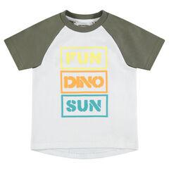 Tee-shirt manches courtes raglan avec message printé