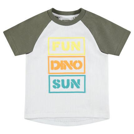 T-shirt met korte raglanmouwen en opdruk met boodschap