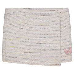 Jupe portefeuille en coton effet tweed avec papillon brodé