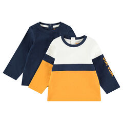 Set met 2 T-shirts met lange mouwen van effen jerseystof / contrasterend met print