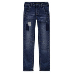 Junior - Jeans met used en crinkle effect en patches