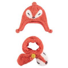 Ensemble bonnet et écharpe forme renard en maille fantaisie
