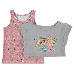 2-in-1 T-shirt met korte mouwen met tanktop met print