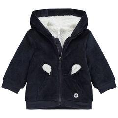 Vest met kap van velours en voering van sherpa