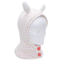 Cagoule en tricot avec oreilles en relief et coeurs