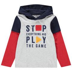 T-shirt met korte mouwen, 2-in-1-effect, kap en print met boodschap