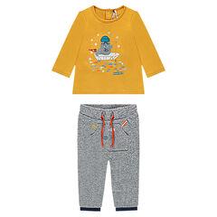 Ensemble van T-shirt met lange mouwen met geborduurde walrus en broek van gedraaide molton