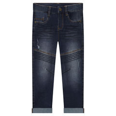 Slim fit jeans met used effect en sierstiksels