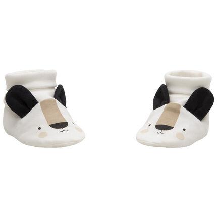 Pantoffels van jersey met berenmotief en reliëforen
