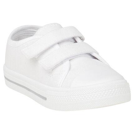 Lage sneakers van linnen met klittenbandsluiting van maat 20 tot 23
