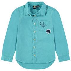 Geverfd hemd met zakje en Smiley-borduurwerk