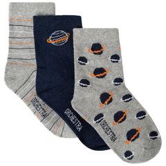 Lot de 3 paires de chaussettes motif planètes et rayures