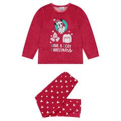 Pyjama van velours met Mickeyprint in kerstsfeer