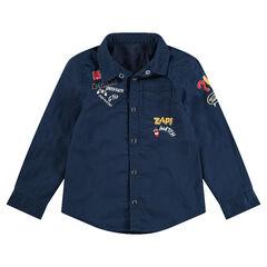 Chemise manches longues en coton avec badges et broderies fantaisie