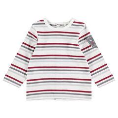 T-shirt met lange mouwen met strepen en badge