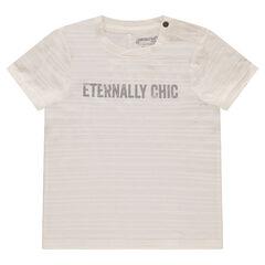 T-shirt met korte mouwen, gestreept effect en print met boodschap aan de voorzijde