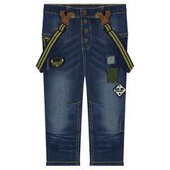 Jeans effet used doublé jersey avec bretelles amovibles et patchs