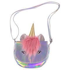 Sac licorne bandoulière iridescent avec fausse fourrure