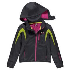 Junior - Veste de ski (softshell) doublée micropolaire à capuche amovible