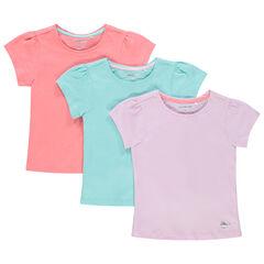 Lot de 3 t-shirts manches courtes unis en coton bio pour fille , Orchestra