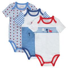 Set met 3 body's met korte mouwen en print uit jerseystof